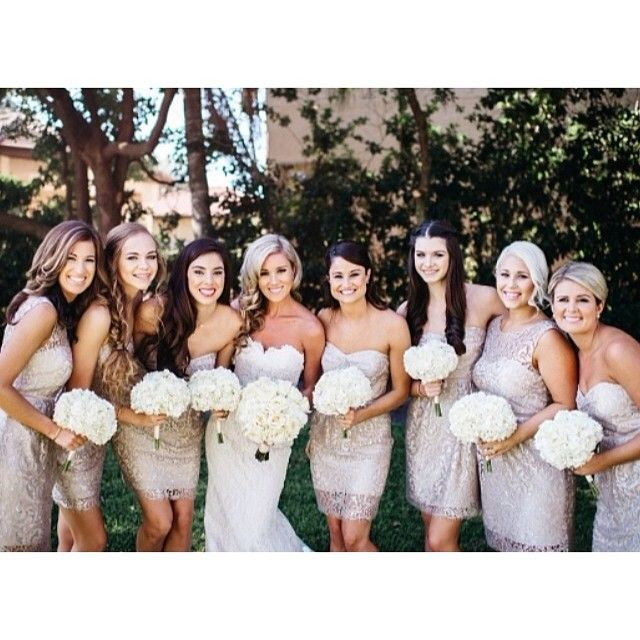 Jenny Yoo Harlow & Hudson bridesmaid dresses in metallic sandstone