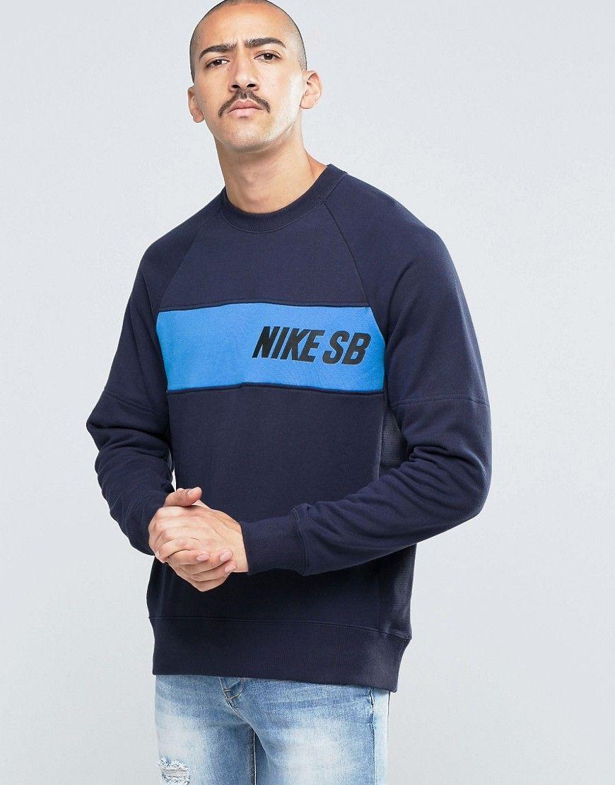 Nike Sb Everett Crew Neck Sweat In Blue 800145 451 At Asos Com Mens Sweatshirts Hoodie Hoodies Men Mens Sweatshirts [ 1110 x 870 Pixel ]