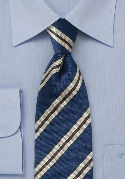 Asymmetrical Striped Tie in Blues and Browns, perfect for