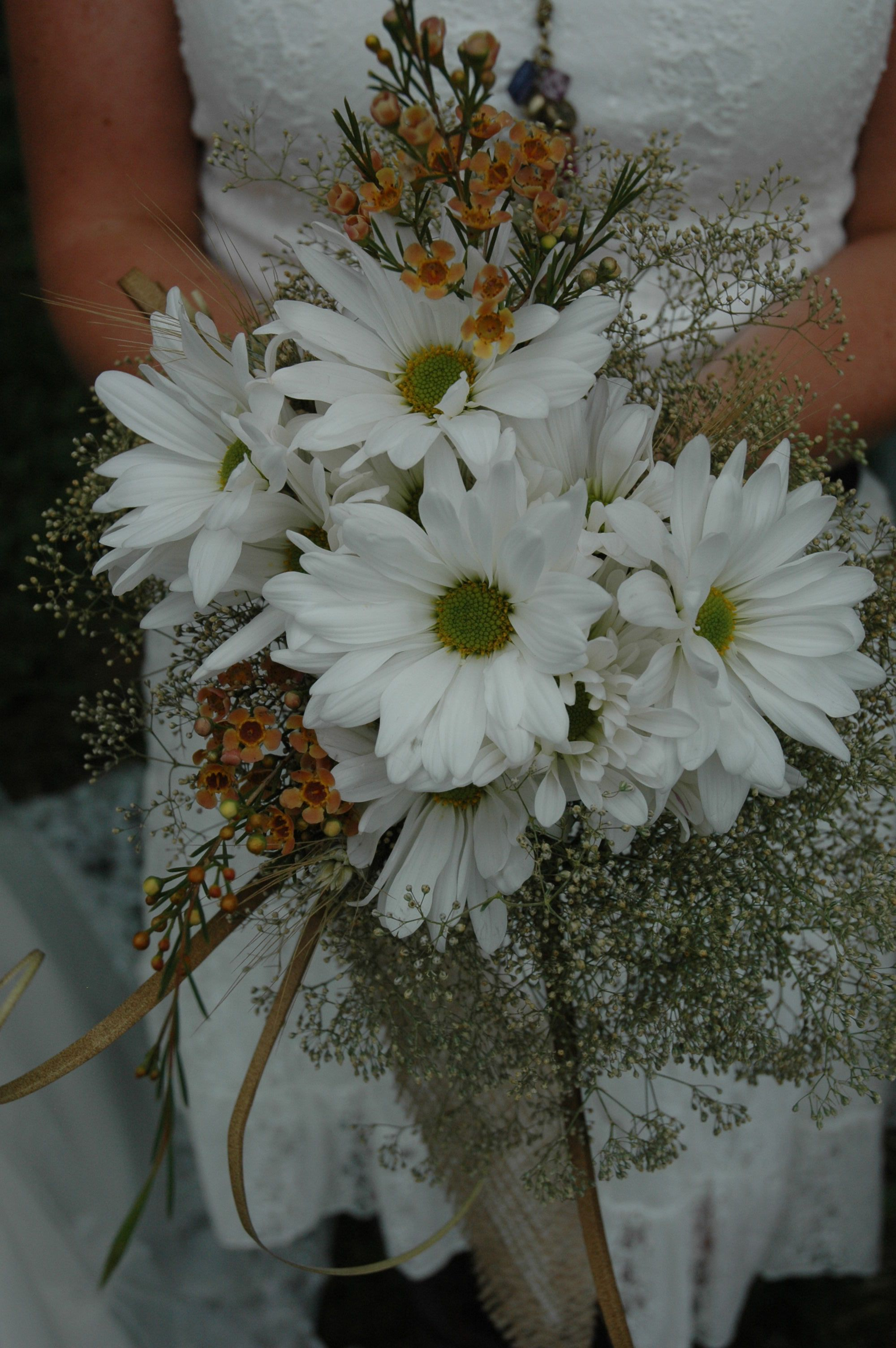 Bridesmaid Bouquets Fresh Daisy Wax Flower And Some Gyp Old