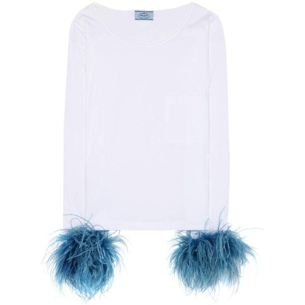 Prada Feather-Embellished White Cotton Top (13.300 ARS) ❤ liked on Polyvore featuring tops, white, white tops, white embellished top, prada, prada top and feather top