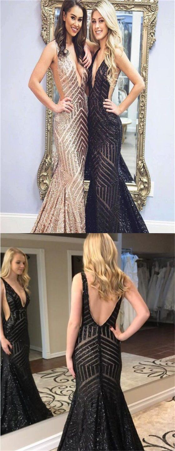 Deep vneck sequin prom dresses mermaid prom dresses long prom