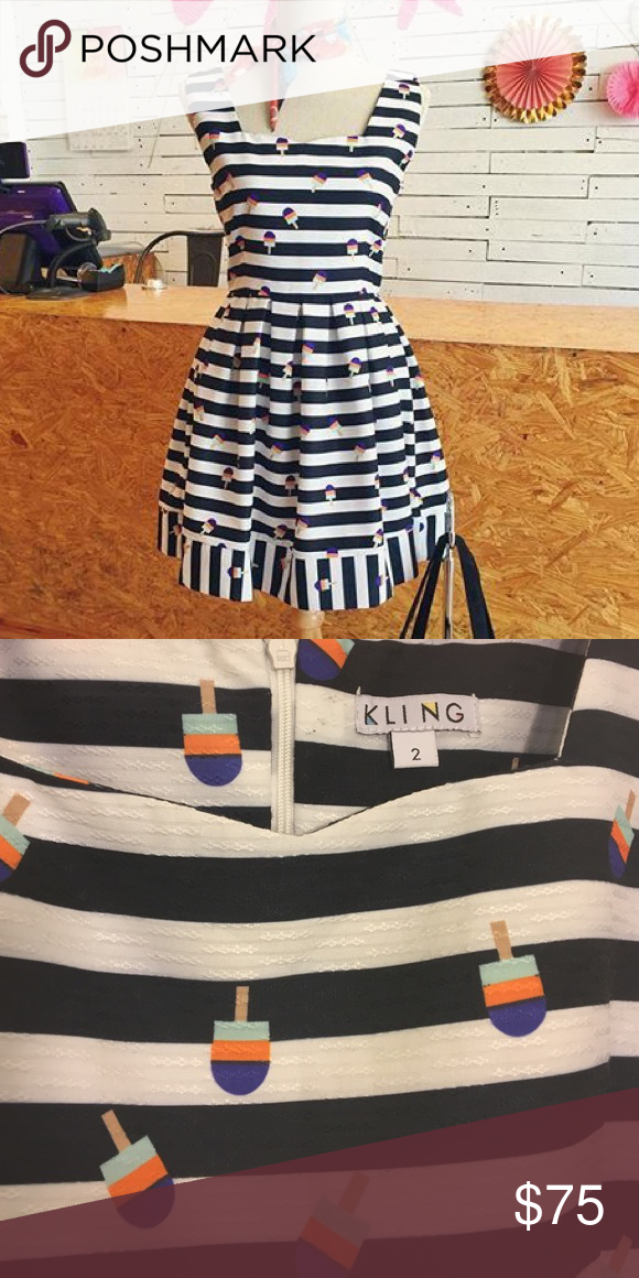 holidazesaleKling Lollipop print stripe dress NWOT The most adorable dress by Kling. Have you seen a dress like this?? By golly love the ice cream lollipops! Zips in the back. It's a size 2 so a small Anthropologie Dresses