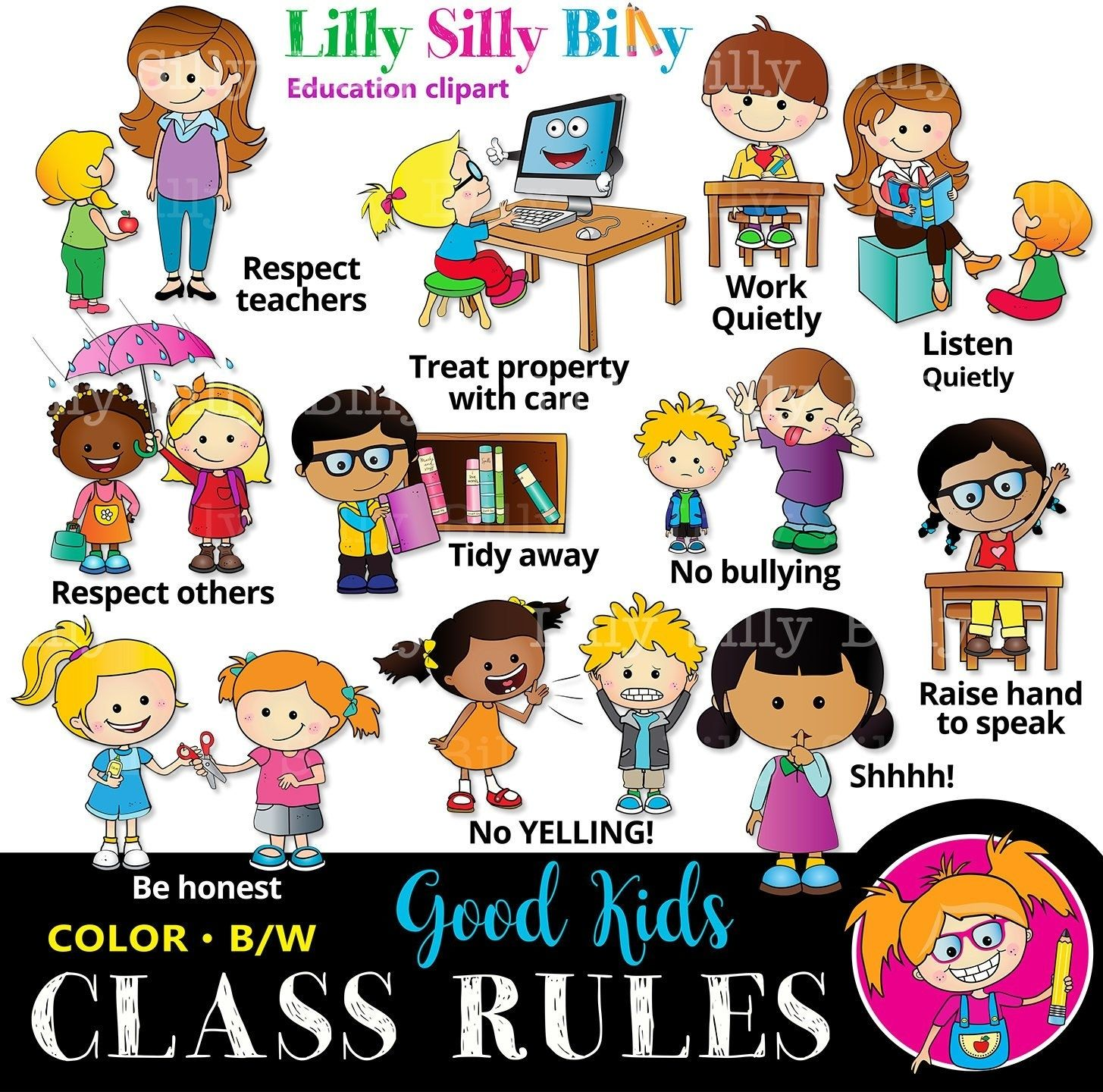 Classroom Rules Black And White And Color Educational Etsy