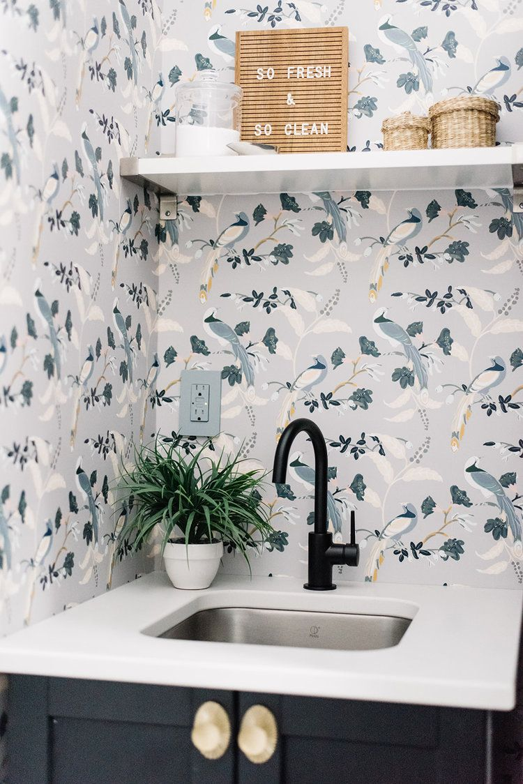 wallpapered laundry room | Kitchen room design, Laundry ...