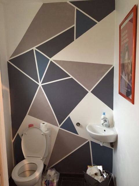 Peinture murale triangles g om trique mes cr ations en - Decoration murale geometrique ...