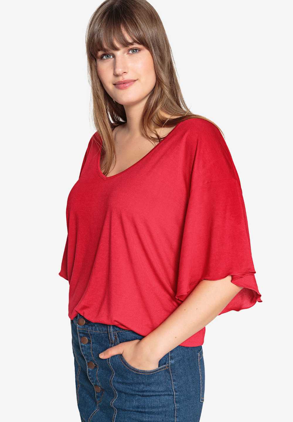 Flutter Sleeve Tee by Castaluna, BLACK in 2020 Sleeves