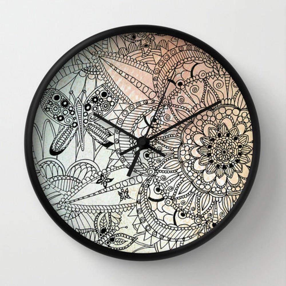 Mandala Wall Clock Butterfly Clock Mandala Drawing Wall Etsy Clock Mandala Drawing Wall Clock