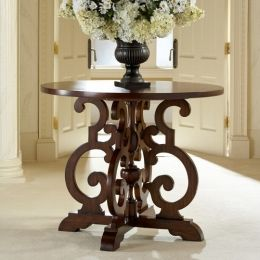 """12502-900-001 Karina 24"""" Round Accent Table with Scrolled Wood Base in Mahogany"""
