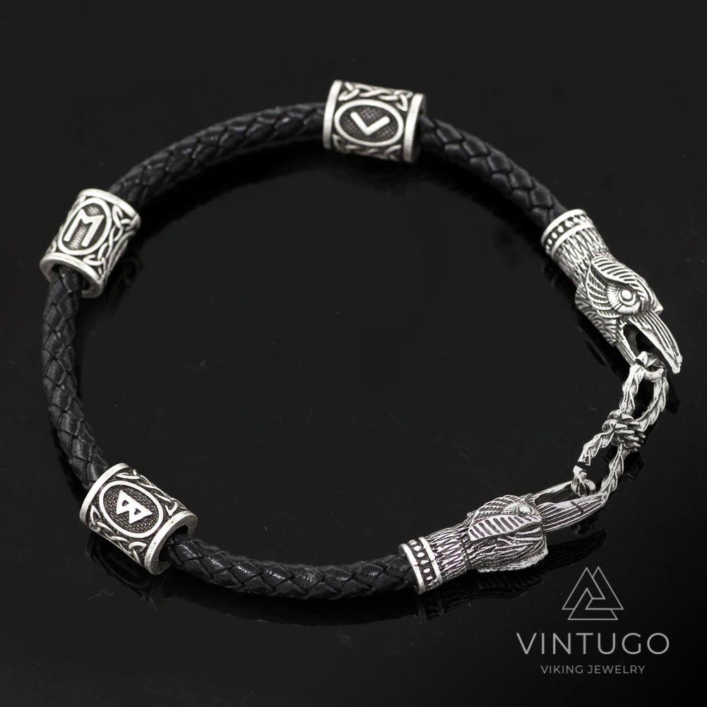 Viking Huginn & Muninn Odin's Ravens Rune Bracelet