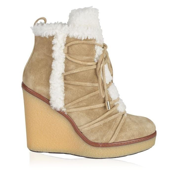 MONCLER Blended Fabrics Plain Elegant Style Wedge Boots