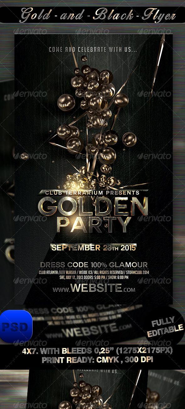 Gold And Black Flyer Template  Flyer Template Print Templates