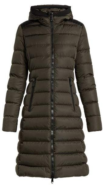 044b82b9a Moncler - Taleve Leather Panel Quilted Coat - Womens - Khaki ...