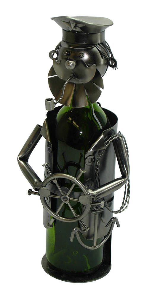 Metal Sailor Bearded Captain With Pipe Wine Bottle Holder Character