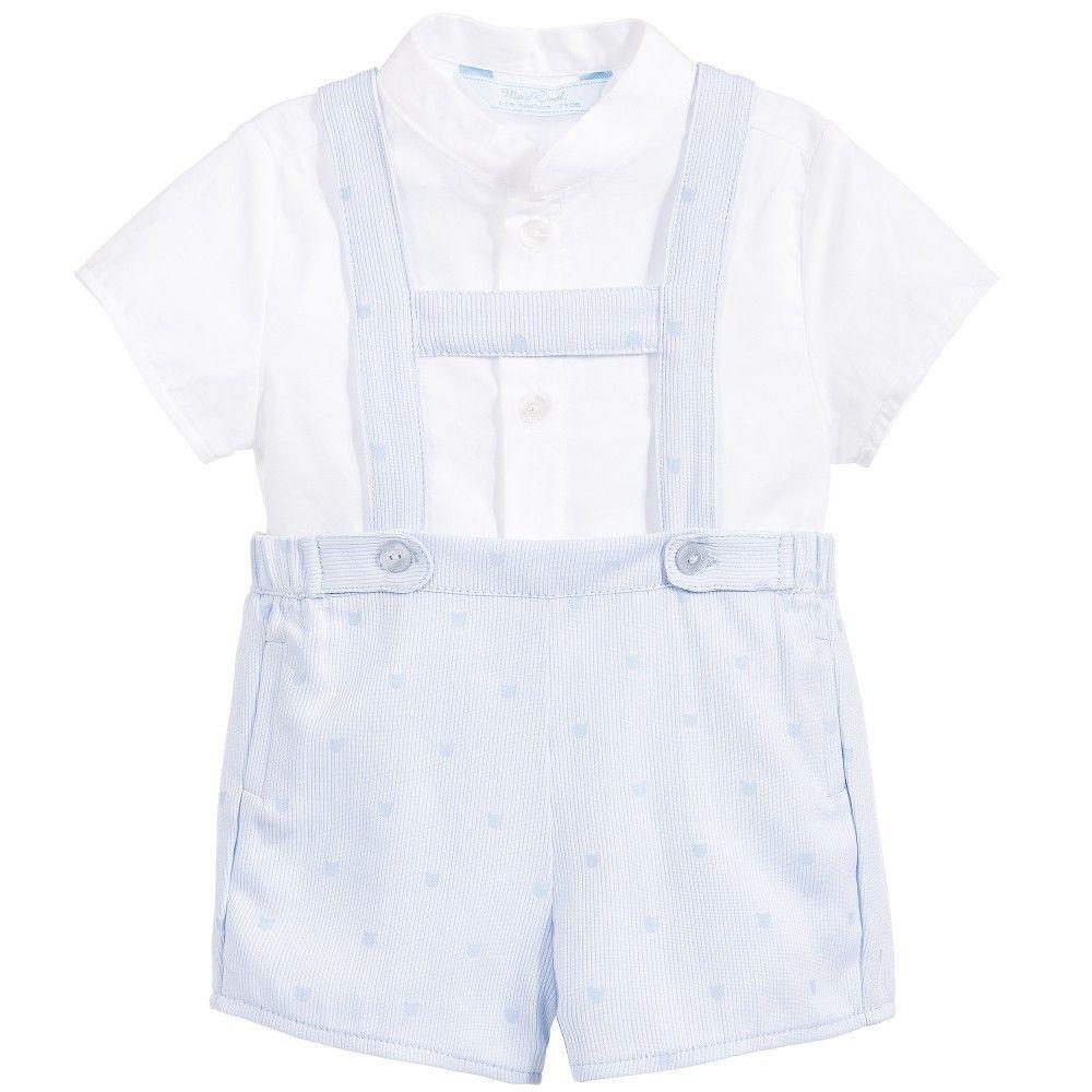Mayoral Baby Boys 2 Piece Blue Dungarees & Shirt Set at Childrensalon.com