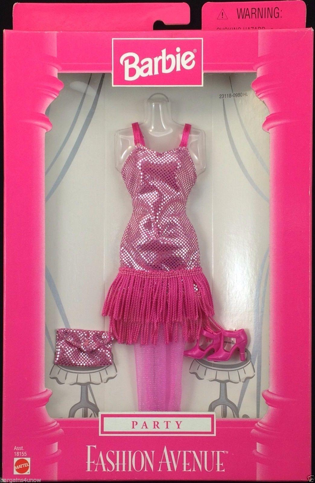 Barbie Party Fashion Avenue Pink Silver Flapper Dress Hosiery Shoes ...