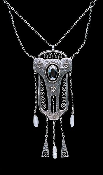 This is not contemporary - image from a gallery of vintage and/or antique objects. THEODOR FAHRNER Jugendstil Pendant Silver Hematite Pearl