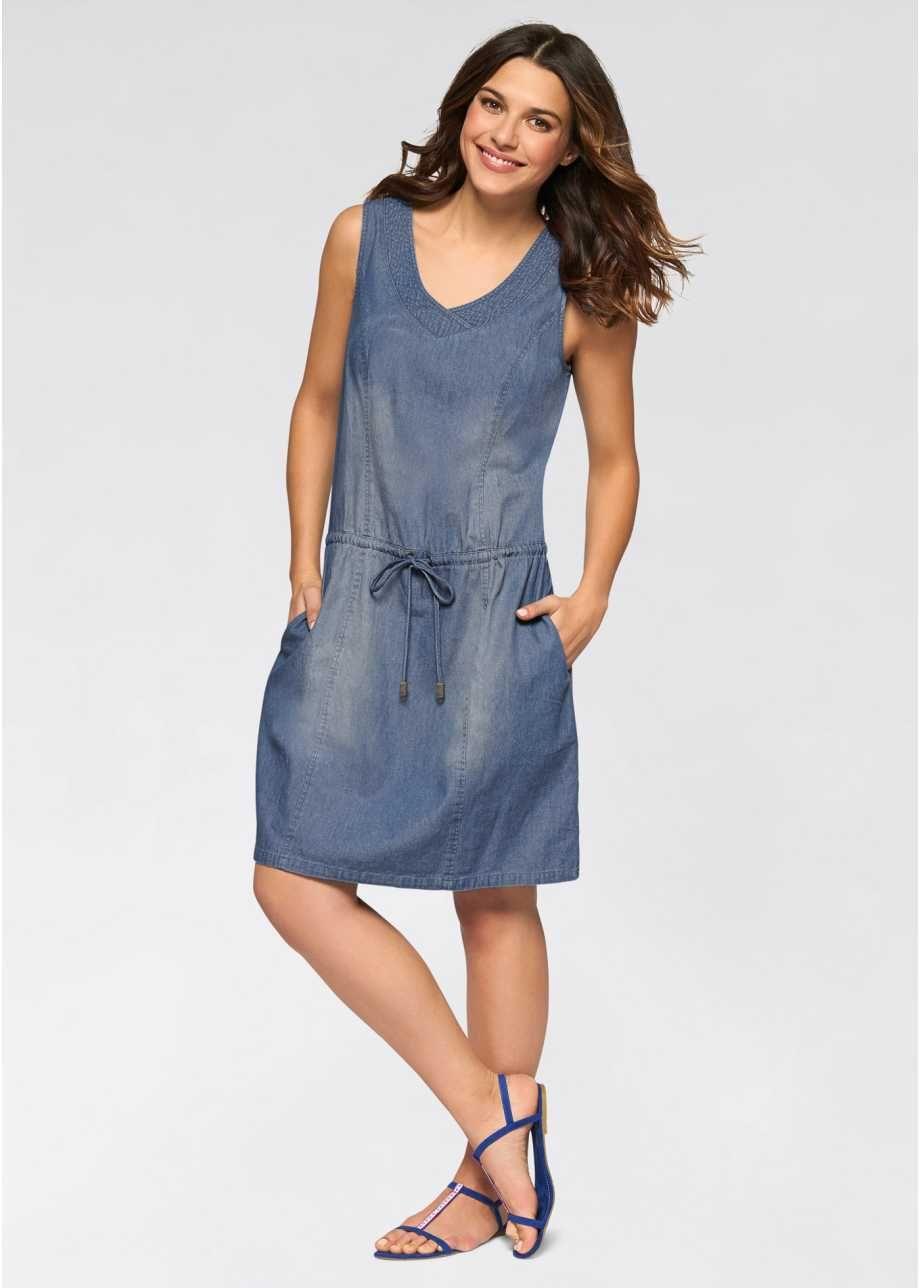 c07e59d93 Vestido jeans com cordão de ajuste azul médio alvejado - Moda Feminina -  bonprix.com