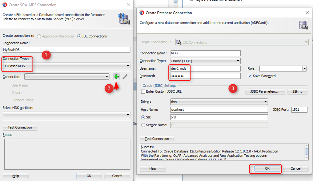 How to create Oracle SOA MDS Connection in JDeveloper 12C