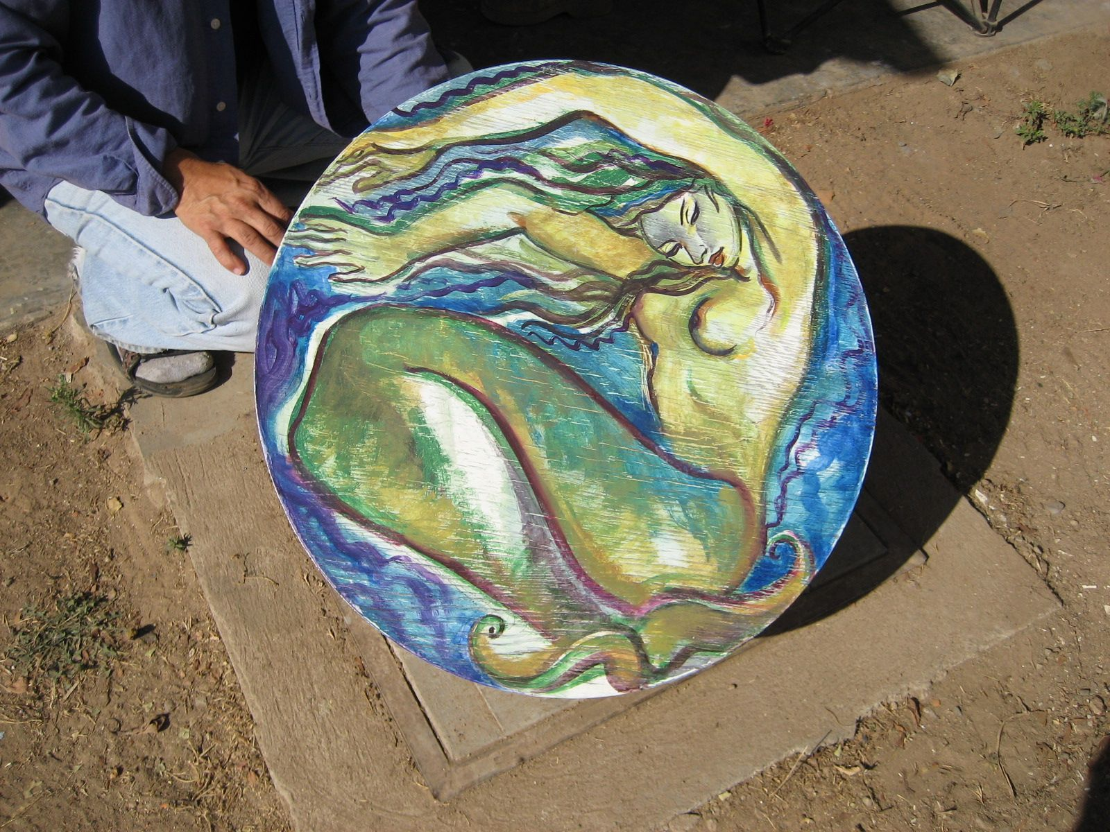 Mexican Furniture Painted Mermaid Coffee Table