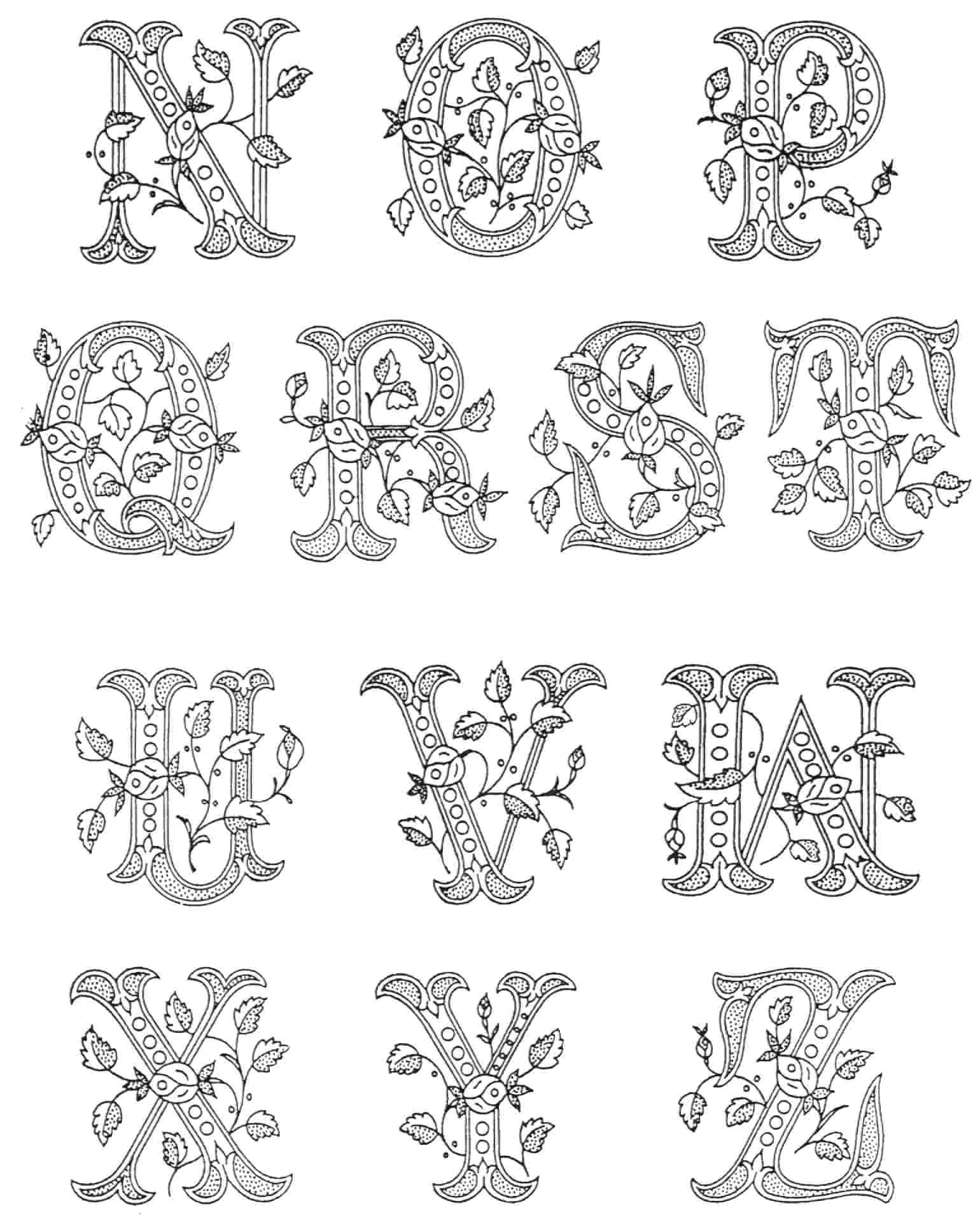 printable illuminated letters coloring pages 4 illuminated
