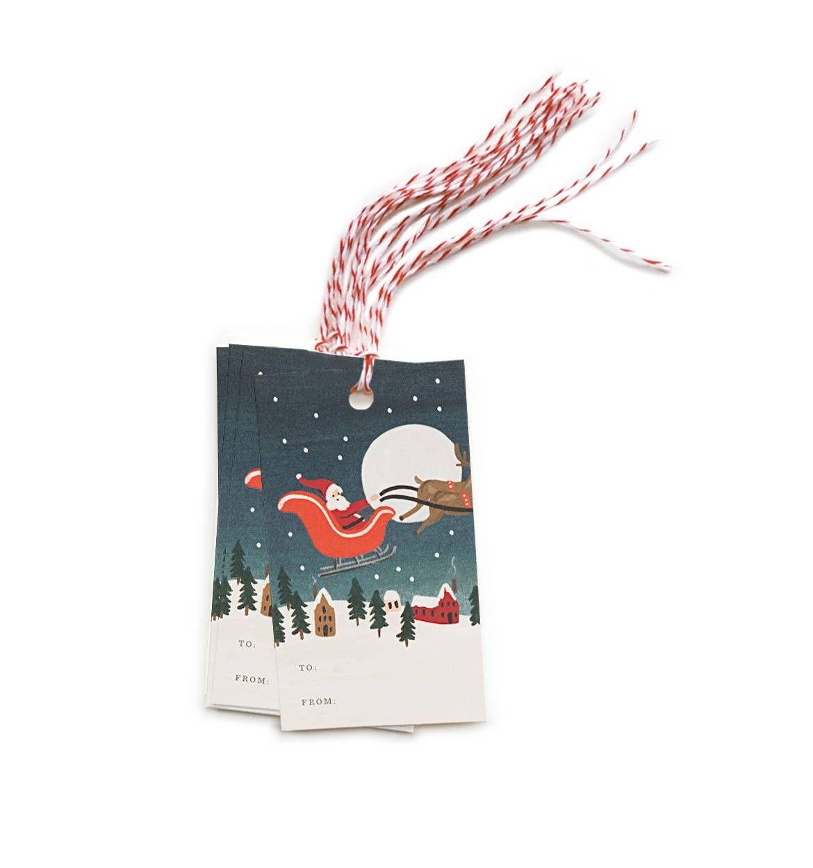 Santa's Sleigh Package of 10 Gift Tags & Tag Ties