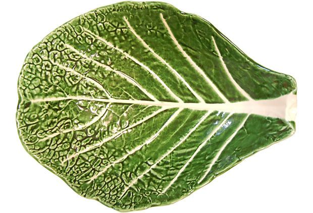 Large Majolica Cabbage-Like Bowls & Platters from OneKingsLane.com to hold the main course & side dishes