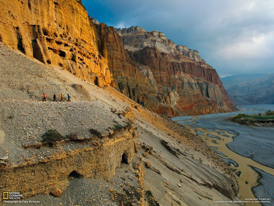 The cliffside caves of Nepal Mustang region