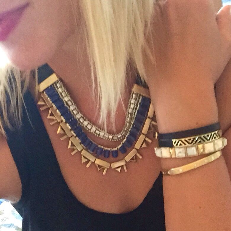 Stella & Dot Natalie necklace and stacked arm party. www.stelladot.com/anitah