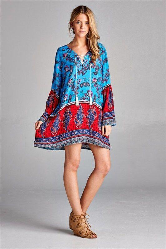 Boho Paisley Print Dress - Turquoise/Red