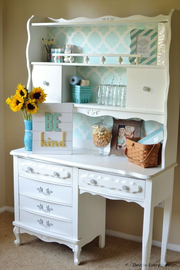 Delightful Deets: Vintage Desk & Hutch Makeover {Giveaway from Cutting Edge  Stencils & Evie Ivy Typography Signs} - Vintage Hutch Makeover. Love This. The Blue And The Sunflowers. It