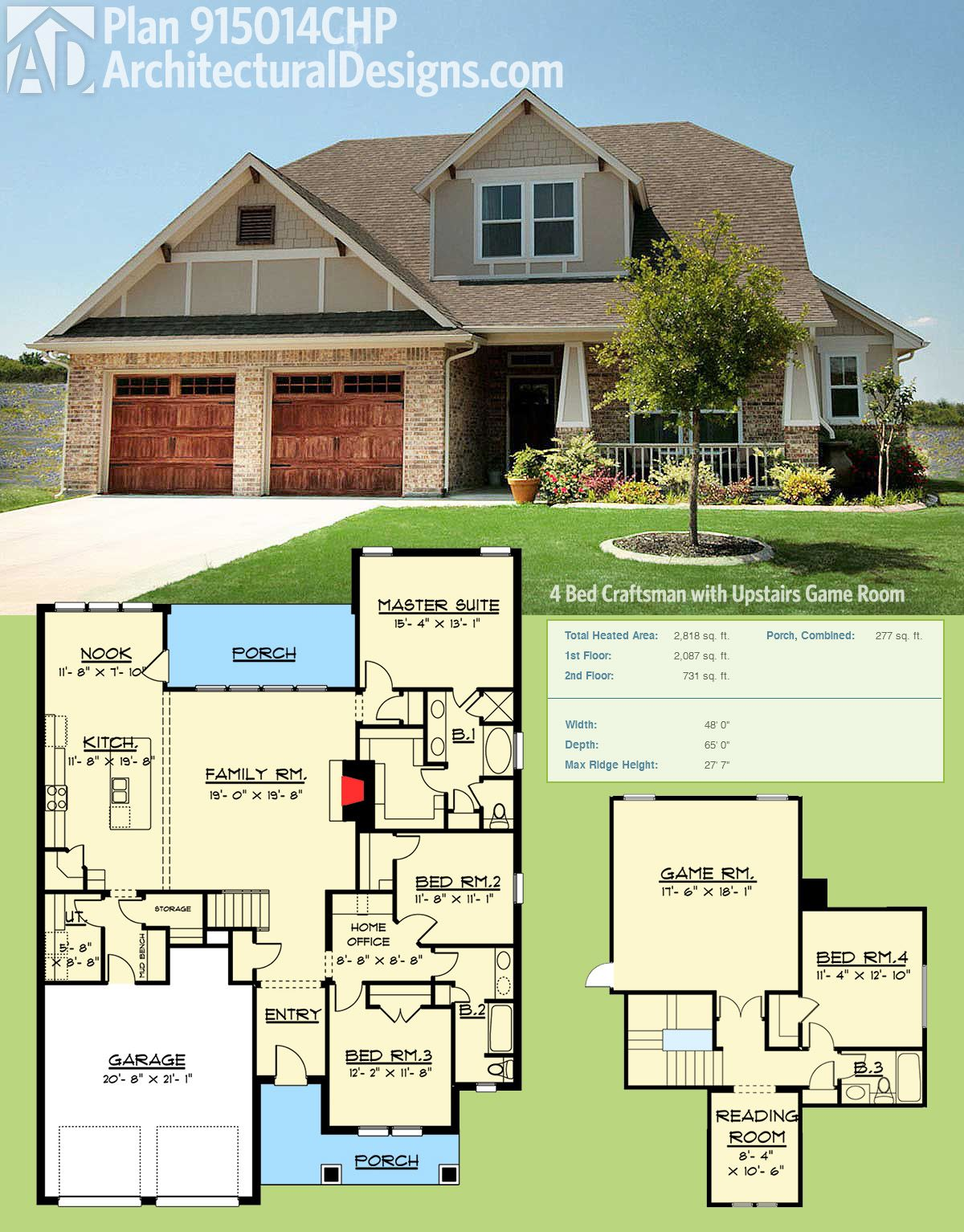 Plan 915014chp 4 Bed Craftsman With Upstairs Game Room