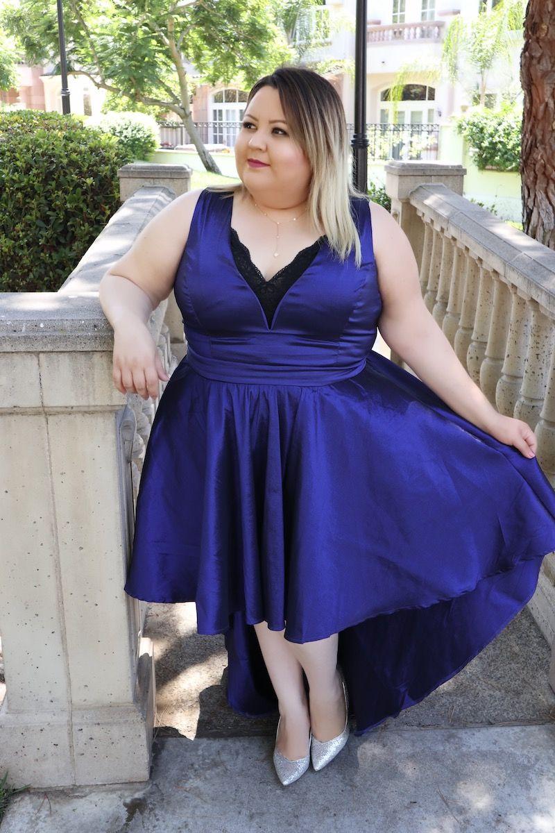 windsor plus size blue dress, silver heels, blue hi-low dress ...