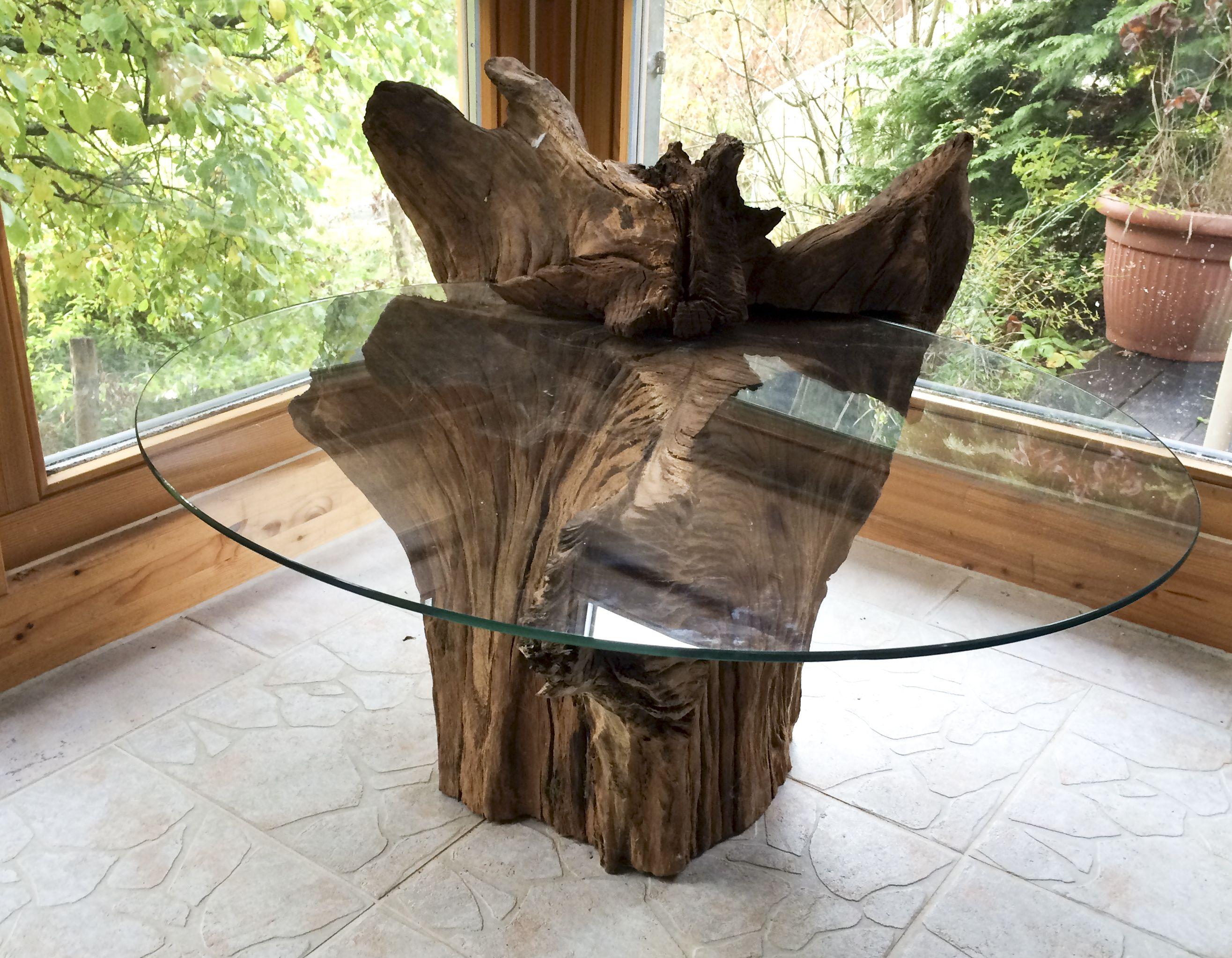 Wurzeltisch mit esg glasplatte lifestyle wohnaccessoires for Holztisch mit glasplatte
