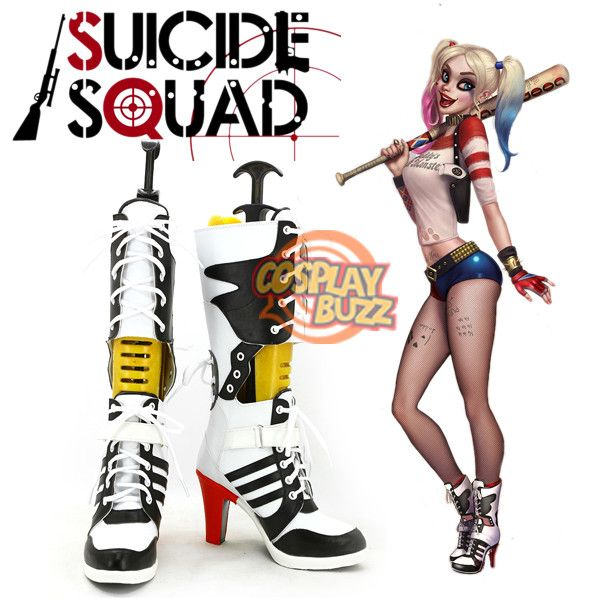 e03d0eaa1a45 Suicide Squad Harley Quinn Custom-Made Black White Red Shoes   Boots ...