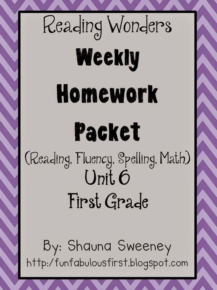 first grade weekly homework packets