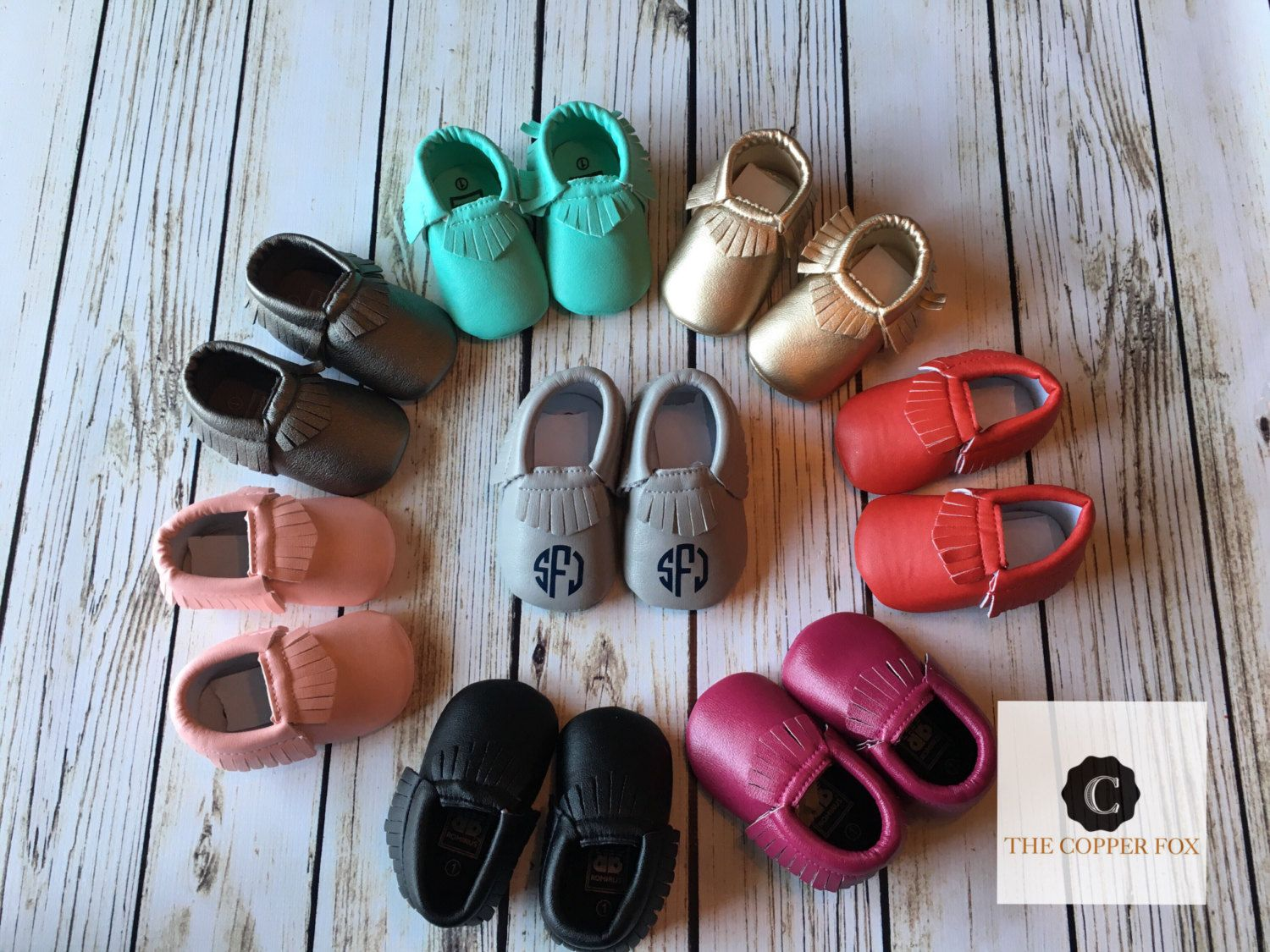 2 PAIR SPECIAL Custom Baby Moccasins, Crib Shoes, metallic moccasins by TheCopperFoxBoutique on Etsy