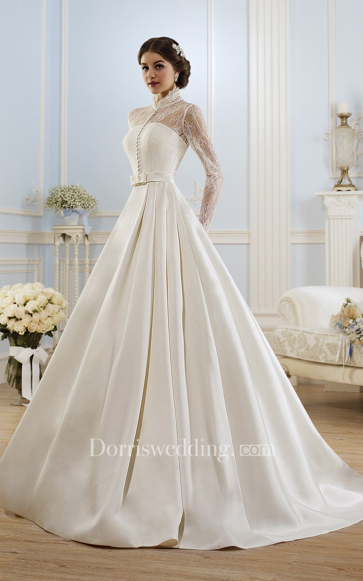 Ball gown long highneck longsleeve illusion satin dress with lace