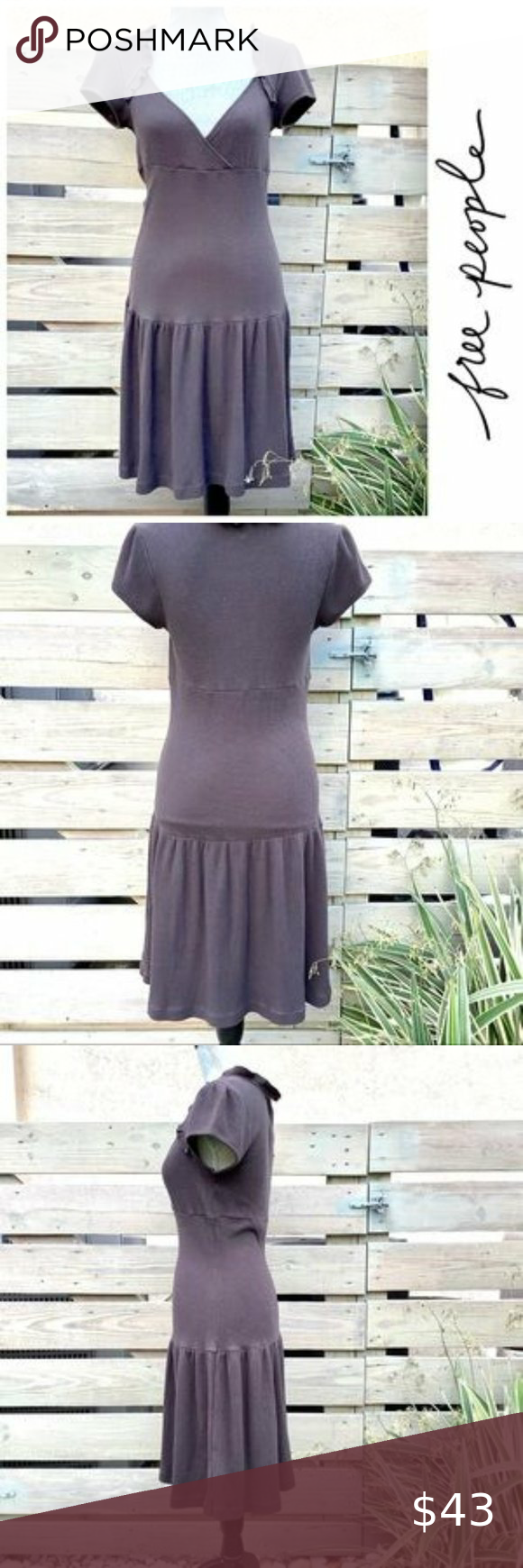 Free People Waffle Knit Dress Gray Waffle Knit Cotton Makes This Classic Dress Both Casual And Comfortable The Short Sleeves Fashion Clothes Design Knit Dress [ 1740 x 580 Pixel ]