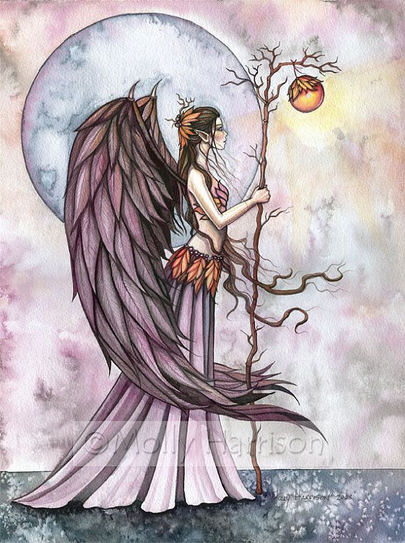 Gothic angel fairy fine art print 39 autumn by for Fairy painting easy