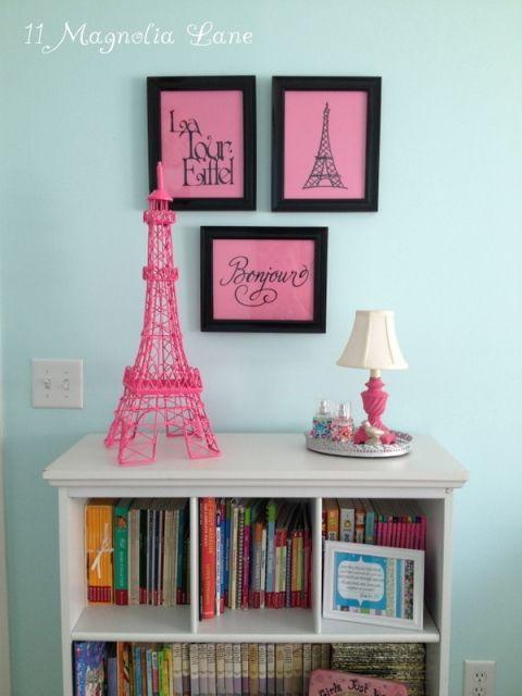 Girls Bedroom w/ Aqua Blue, Pink, Green, with Paris accents