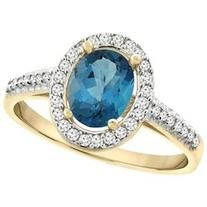 10K Yellow Gold Natural London Blue Topaz Ring Oval 7x5 mm Diamond Halo, size 10
