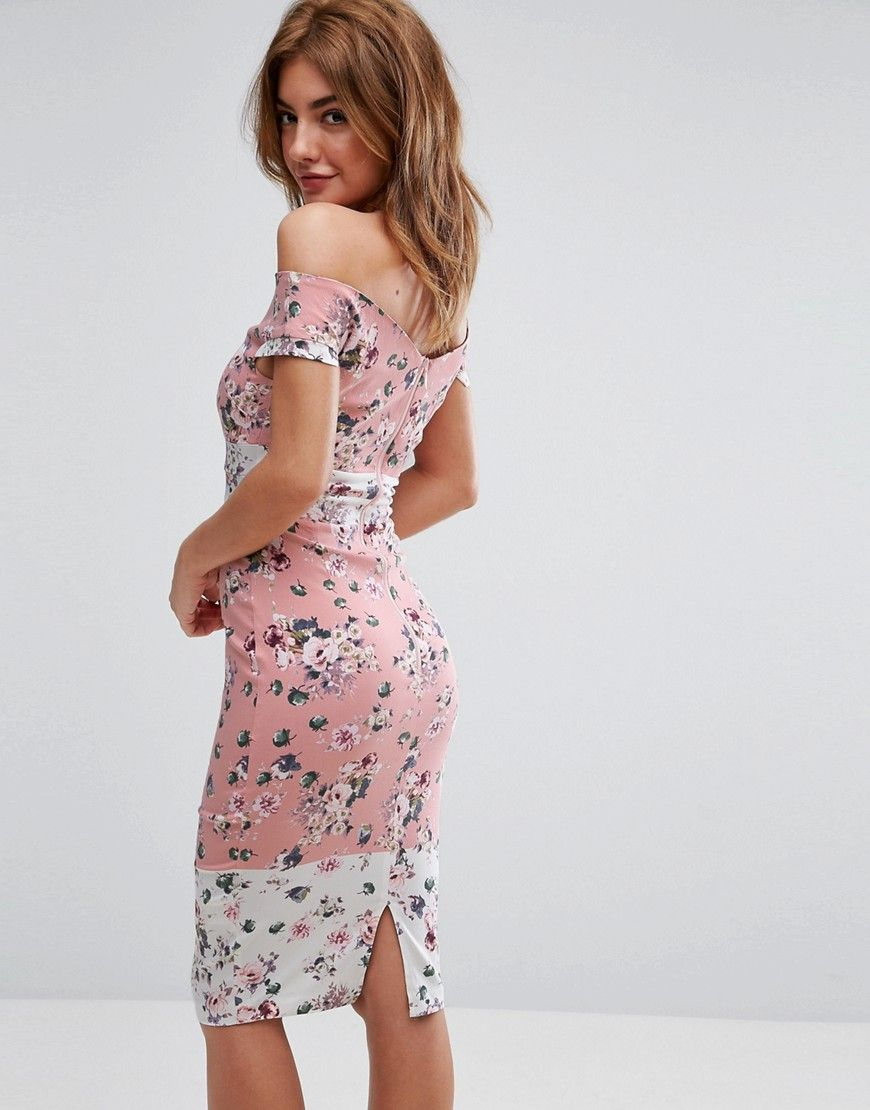 281f8bc982634 Vesper Bardot Midi Dress In Floral Print With Contrast Border   Products
