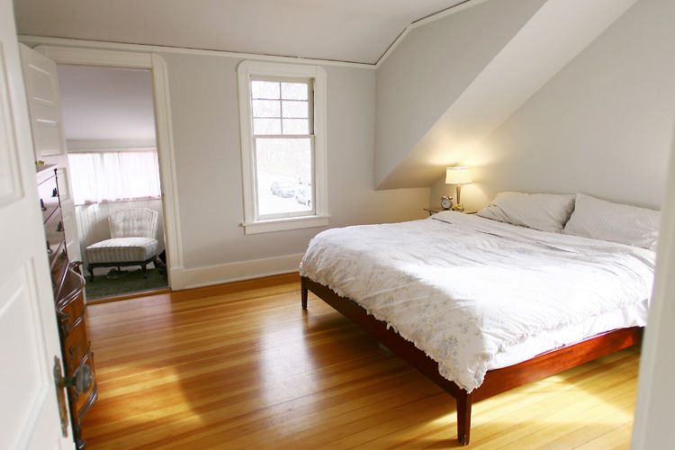 Renovated Bedroom Benjamin Moore Horizon On The Walls And Cottonballs On The Trim Bedroom Renovation Simple Bedroom Small Shared Bedroom