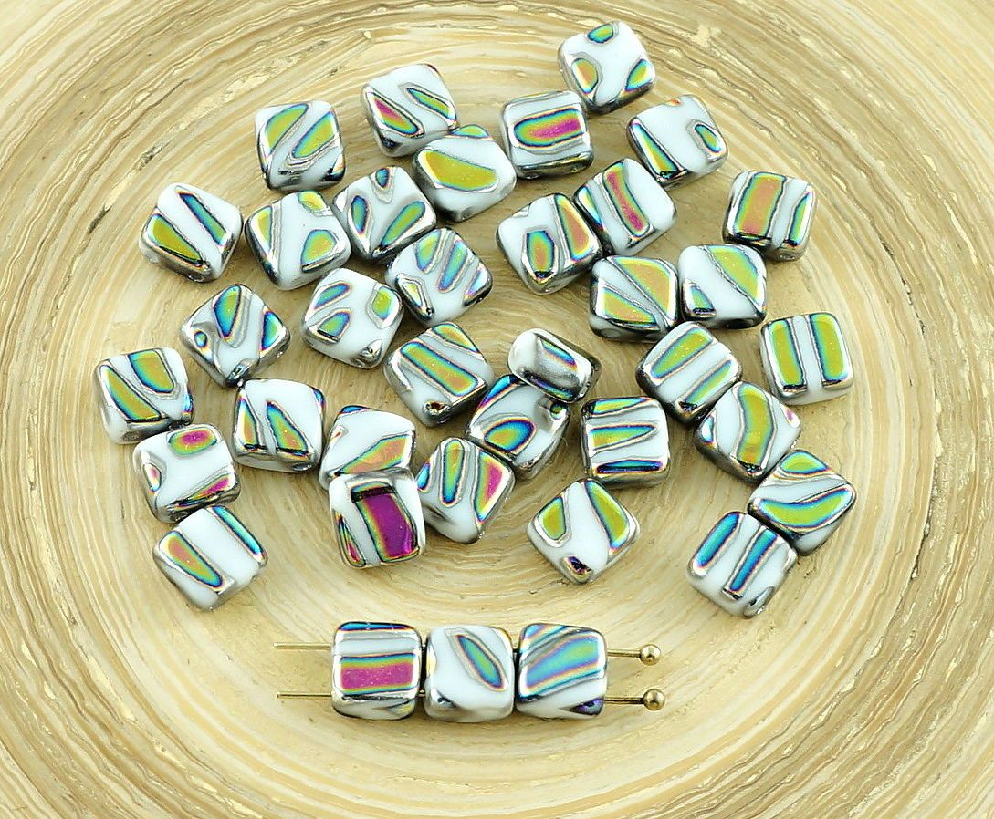 Color: Opaque White / Green / Zebra Peacock / Vitrail Striped  Size (mm): 6mm x 6mm  Hole size (mm): 1mm (approximately)  Shape: Tile Beads / Two Holes Beads / Square Flat Glass Beads / Czech Flat Square Beads  Sold in packs of 20pcs  peacock square beads, striped square beads, white peacock beads, czech peacock beads, white vitrail beads, striped tile beads, czech square beads, white square beads, peacock tile beads, czech white beads, czech glass beads, 6mm vitrail beads, 6mm peacock…