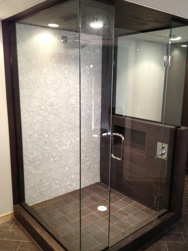 Stand Up Shower With Glass Tile From The Other Angle
