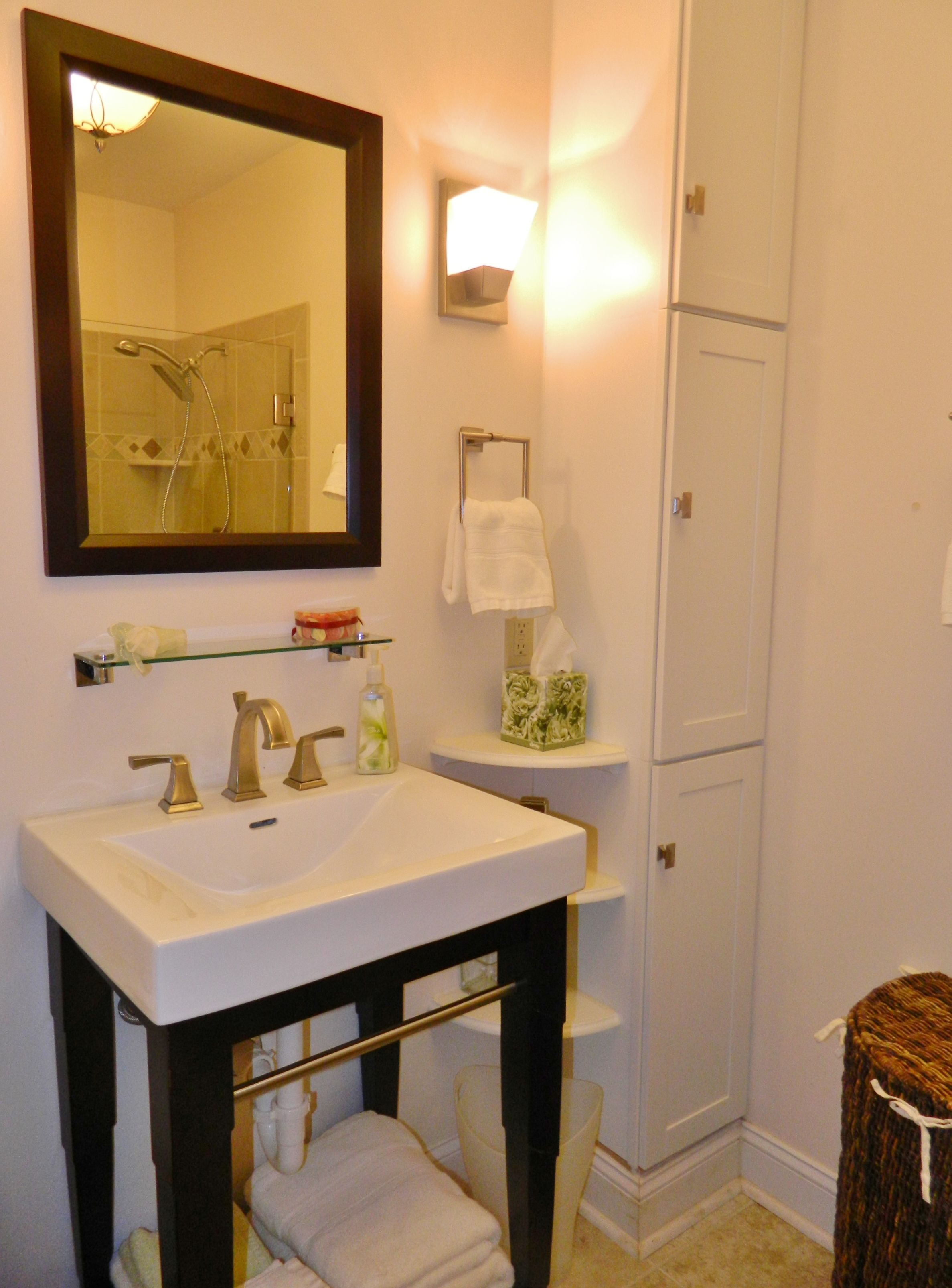 This beautiful bathroom is part of a