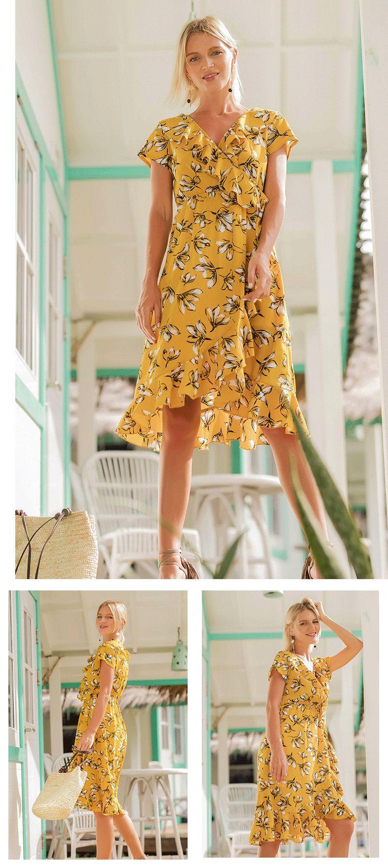 Newest summer women dress vneck printing ruffles short