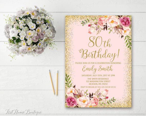 80th Birthday Invitation Any Age Women