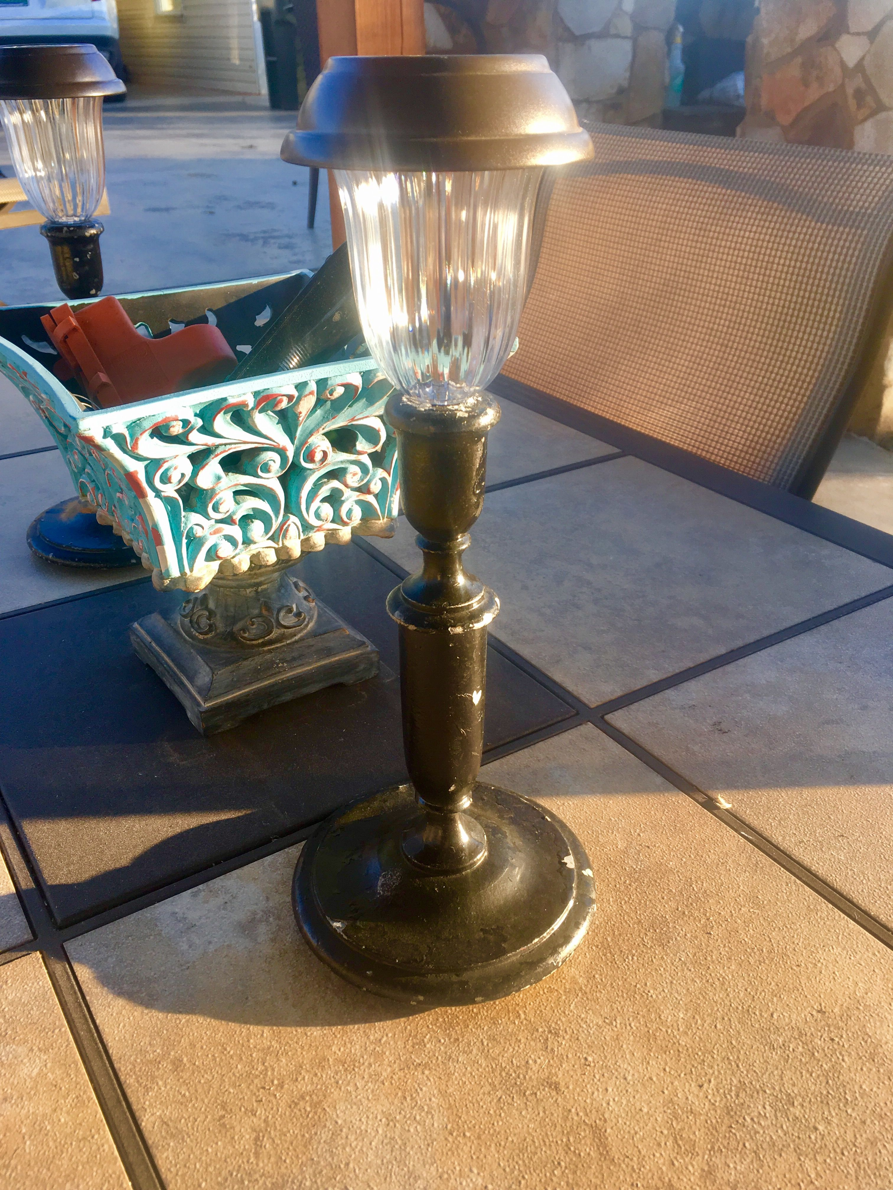 Solar Light On A Pewter Candle Stick For Table Lamp Lights Hy Campers